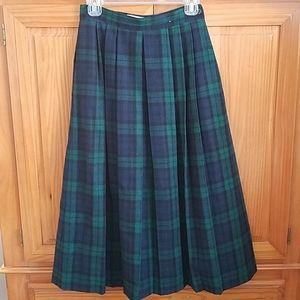 Vintage Crazy Horse Blackwatch Plaid Pleated Skirt